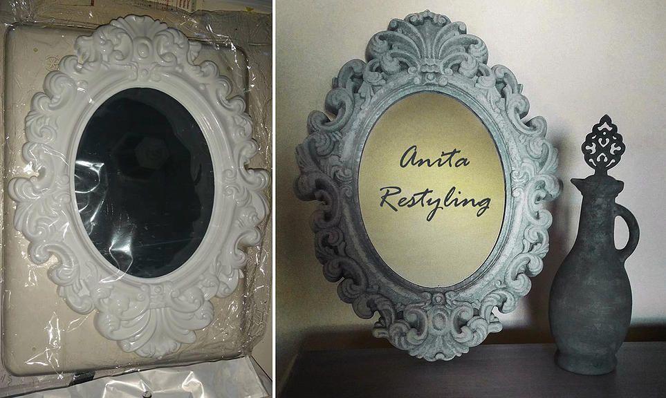 Prima e dopo specchio con cornice di plastica bianca antichizzato con patina effetto ferro - Specchio antichizzato ...
