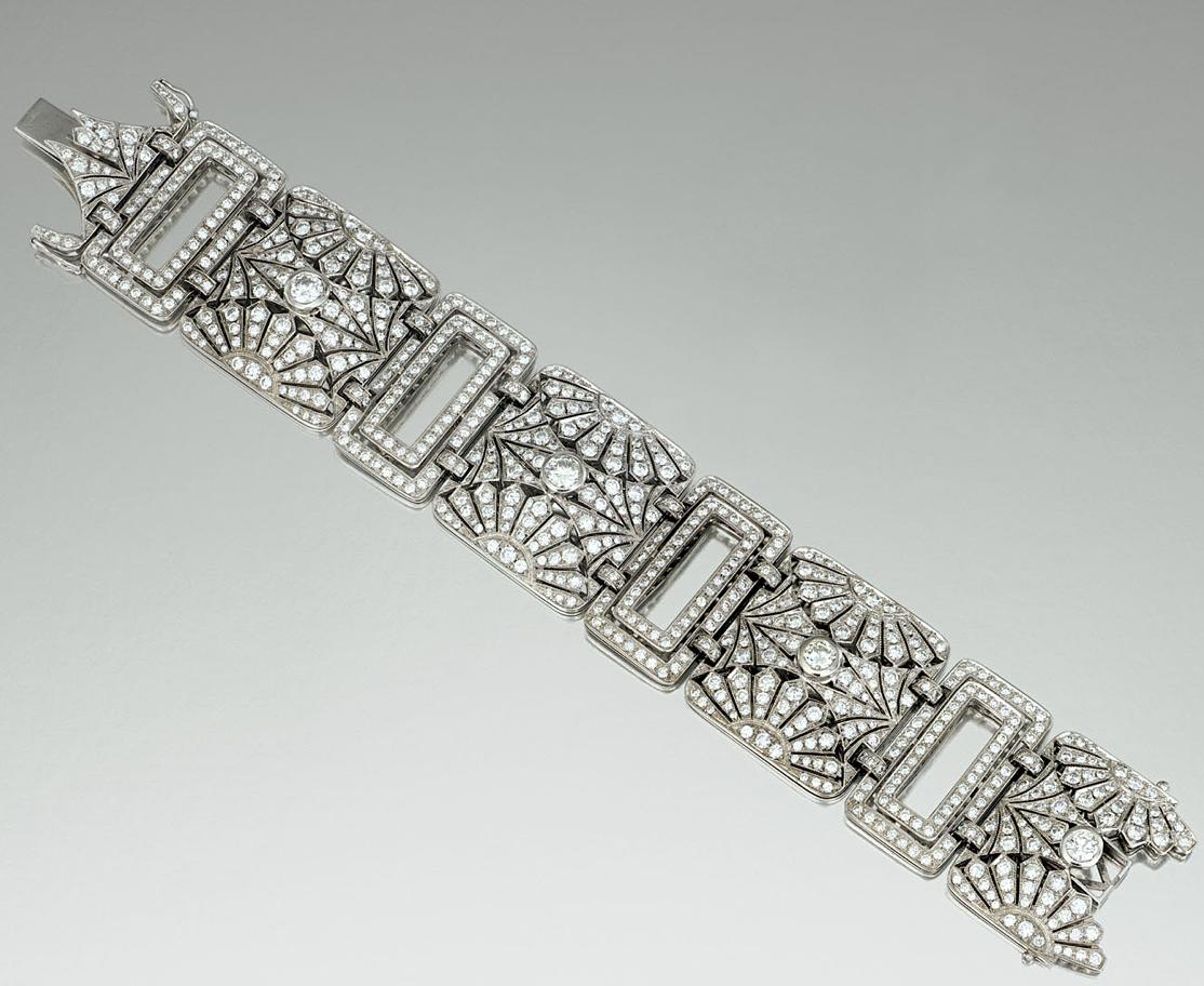Diamond bracelet designed as a series of pierced open work plaques