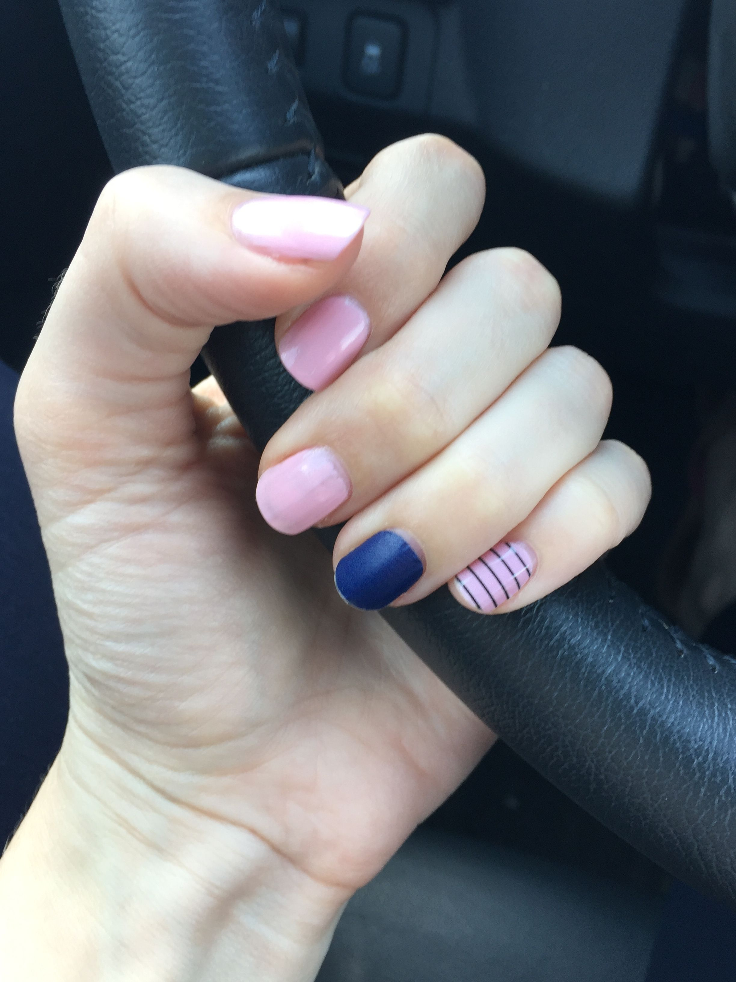 Accent nails. A dark color and a stripe nail for this mani. So ...