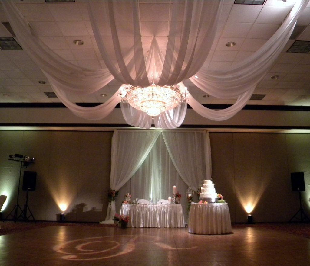 Ivory sheer fabric swaging dance floor ceiling draping pinterest ivory sheer fabric swaging arubaitofo Image collections