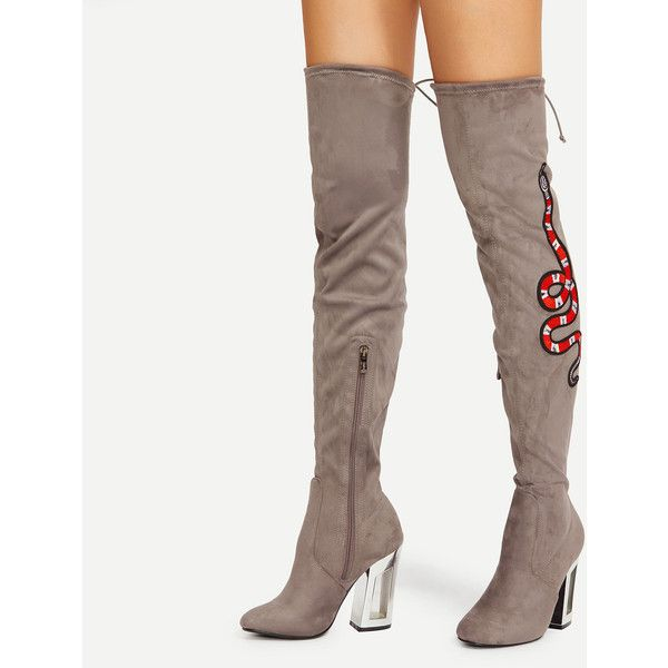 c9e9999aff6e SheIn(sheinside) Snake Embroidery Lace Up Back Over Knee Boots ( 46) ❤  liked on Polyvore featuring shoes and boots