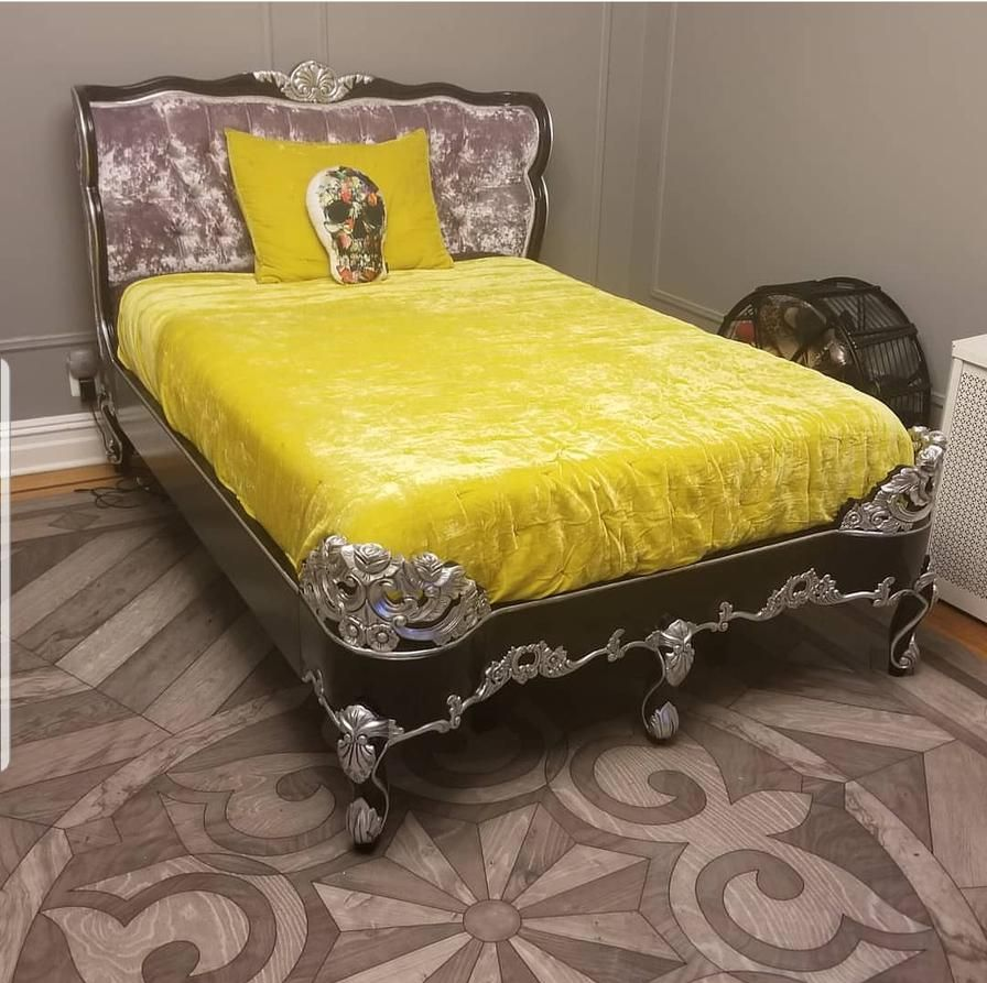 Royal Fortune Montespan Bed Silver Leaf & White Silk