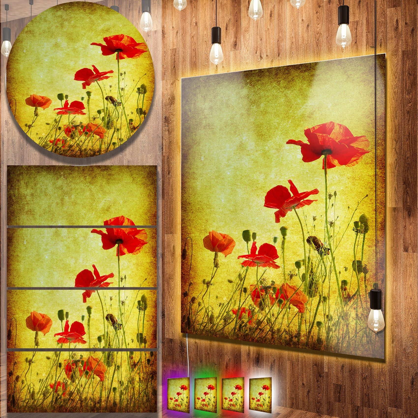 Designart \'Poppy Flowers on Grunge Background\' Contemporary Floral ...