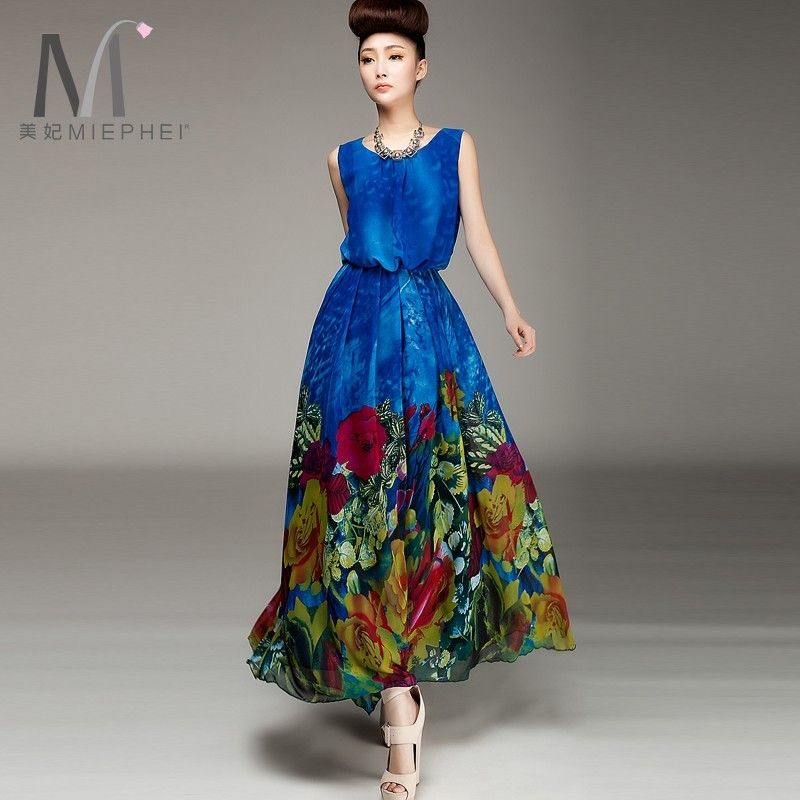 2013 New Fashion Round Neck Boho womens Chiffon Casual Dress Maxi ...