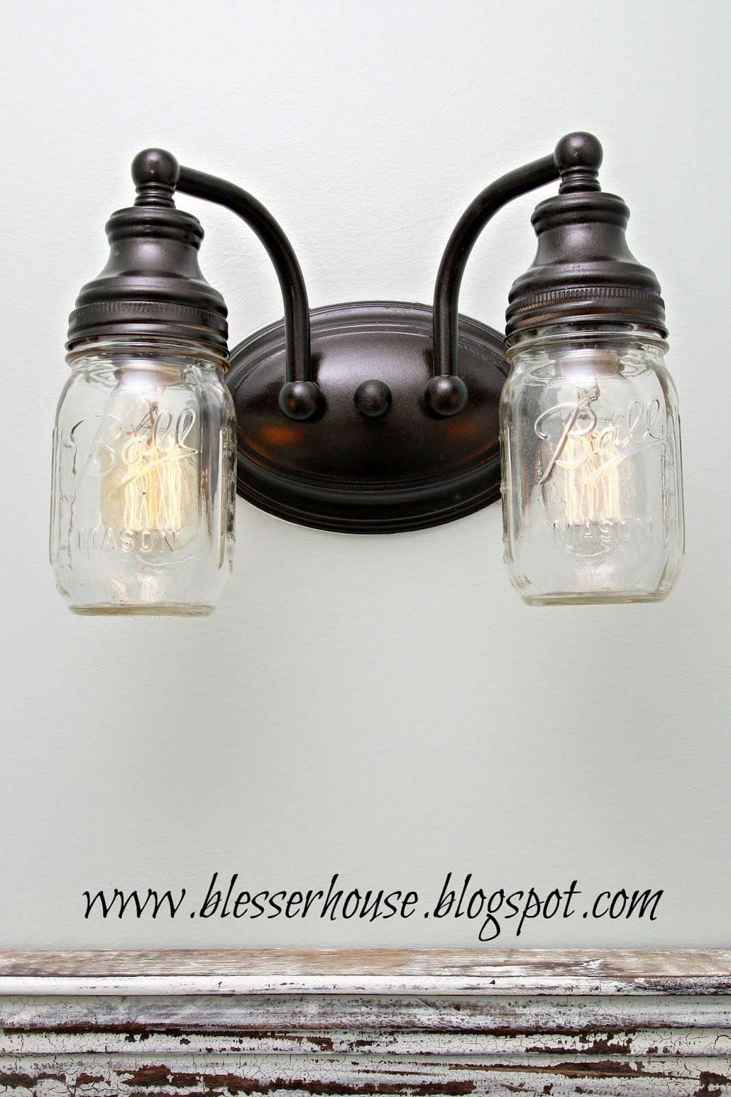 Diy Mason Jar Vanity Light Diy Mason Jar Lights Mason Jar Diy Mason Jar Crafts Diy