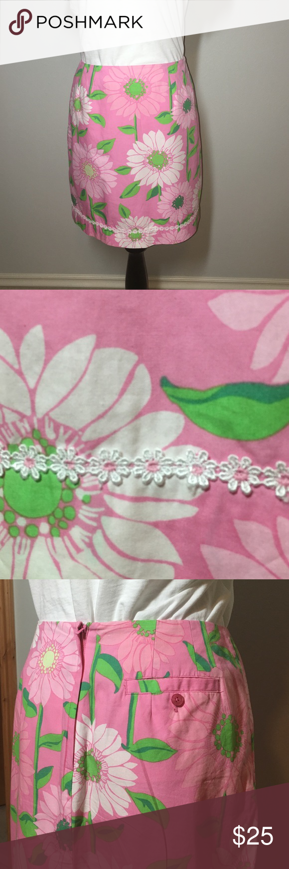 LILLY PULITZER Skirt 🌴 Lovely lined skirt! Button and zip closure. Back pocket. Flower lace along straight hem. 100% Cotton outer. Pink with white and pink flowers. Green leaves. Excellent. Smoke & pet-free! Length: 19 in. Waist: 30 in. Lilly Pulitzer Skirts Mini