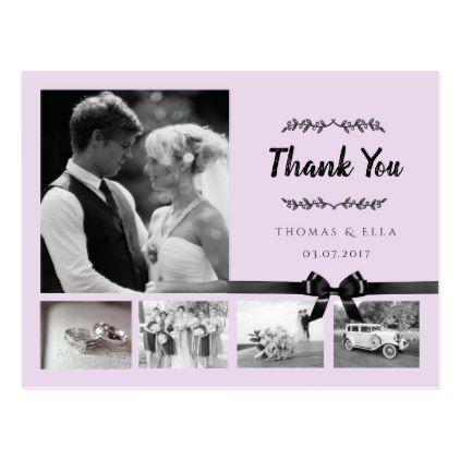 Modern Photo Collage Wedding Thank You Postcard - script gifts