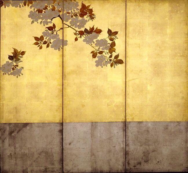 酒井抱一 桜花図屏風Sakai Hoitsu flower figure. One of a pair of two ...