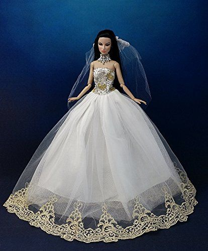 White Royalty Wedding Clothes+veil Made Fit for Barbie Doll ...