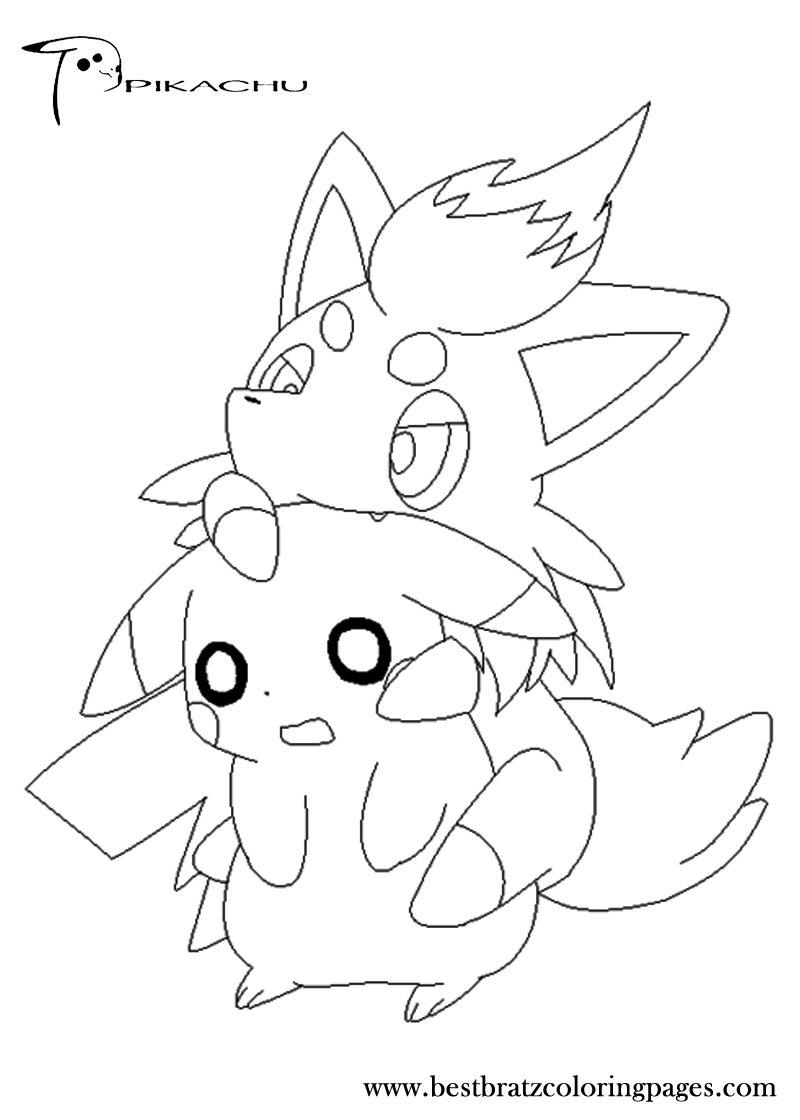 Eevee and pikachu coloring pages - Free Printable Pikachu Coloring Pages For Kids