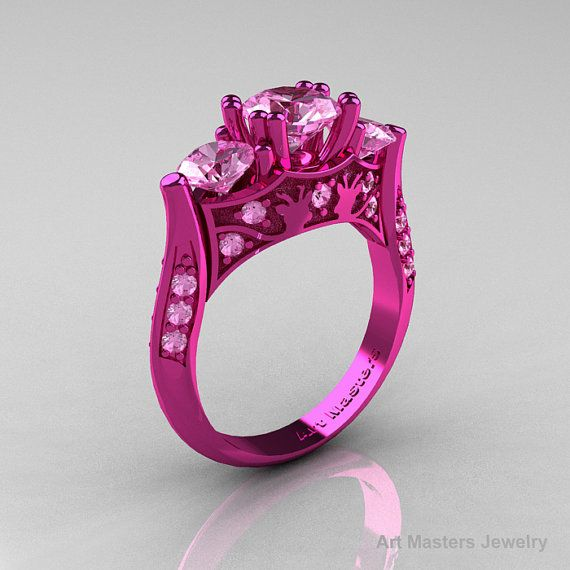 Hot Pink And Black Ring Black Diamond Wedding Rings Pink Gold Rings Black Wedding Rings