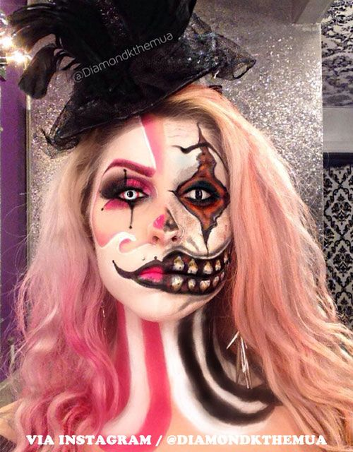 13 Halloween Makeup Ideas For Pink Hair Creepy Clown Makeup Clown Makeup Halloween Makeup