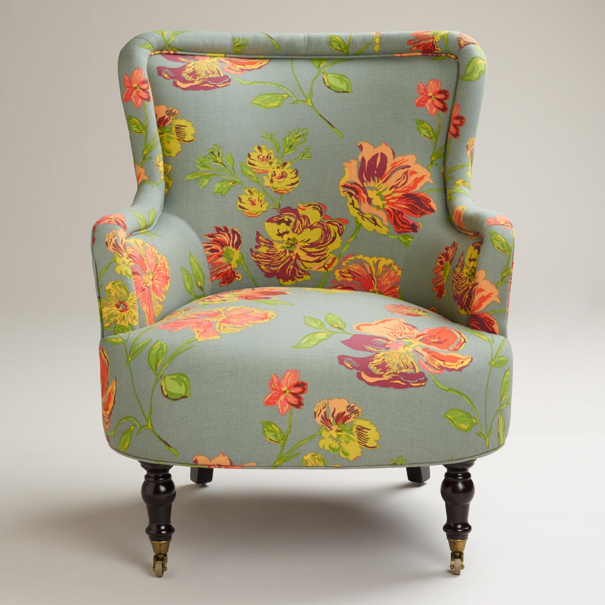 LOVE this Gray Vintage Floral Reading Chair from World