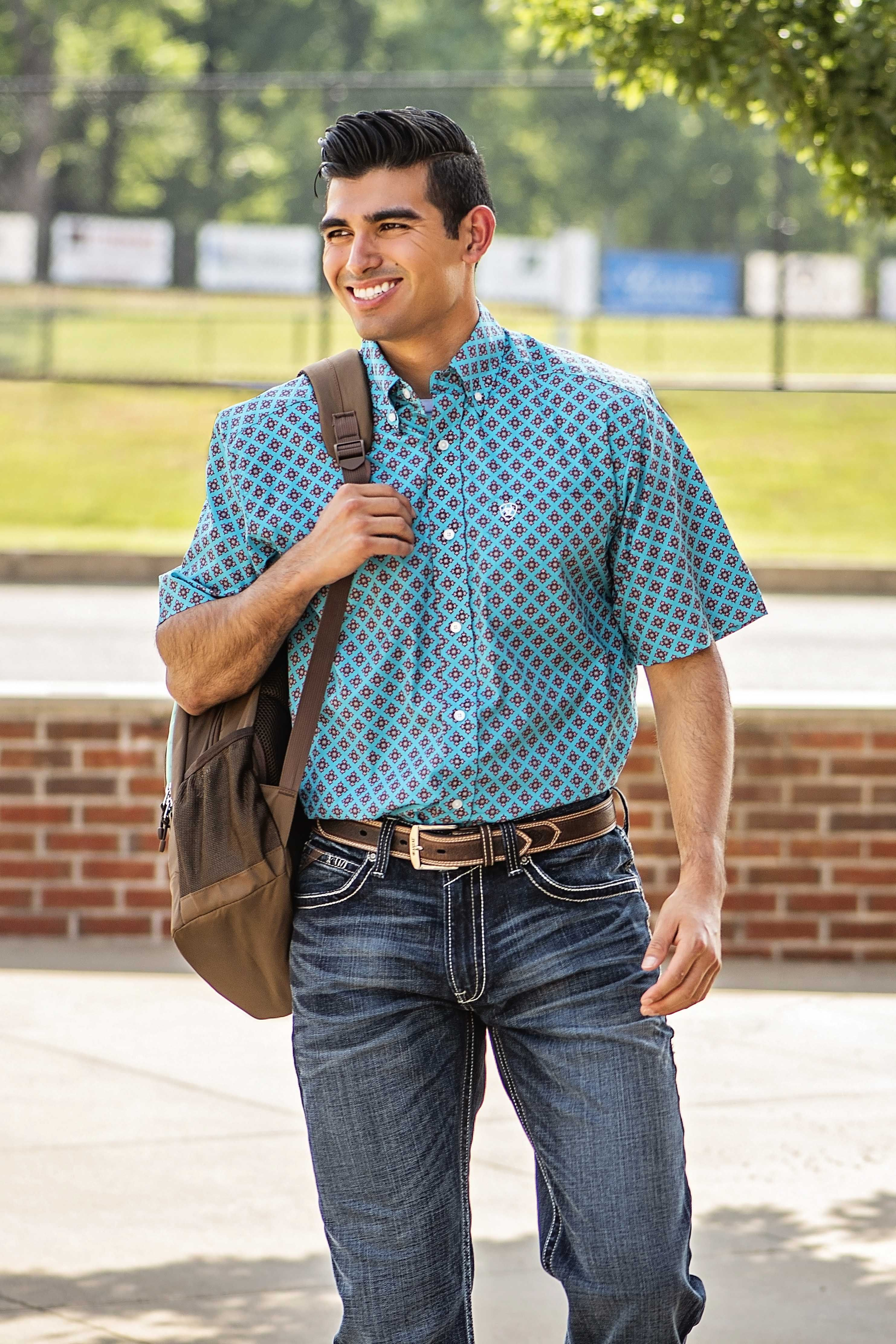 Make a statement on the first day. Mens outfits, Western