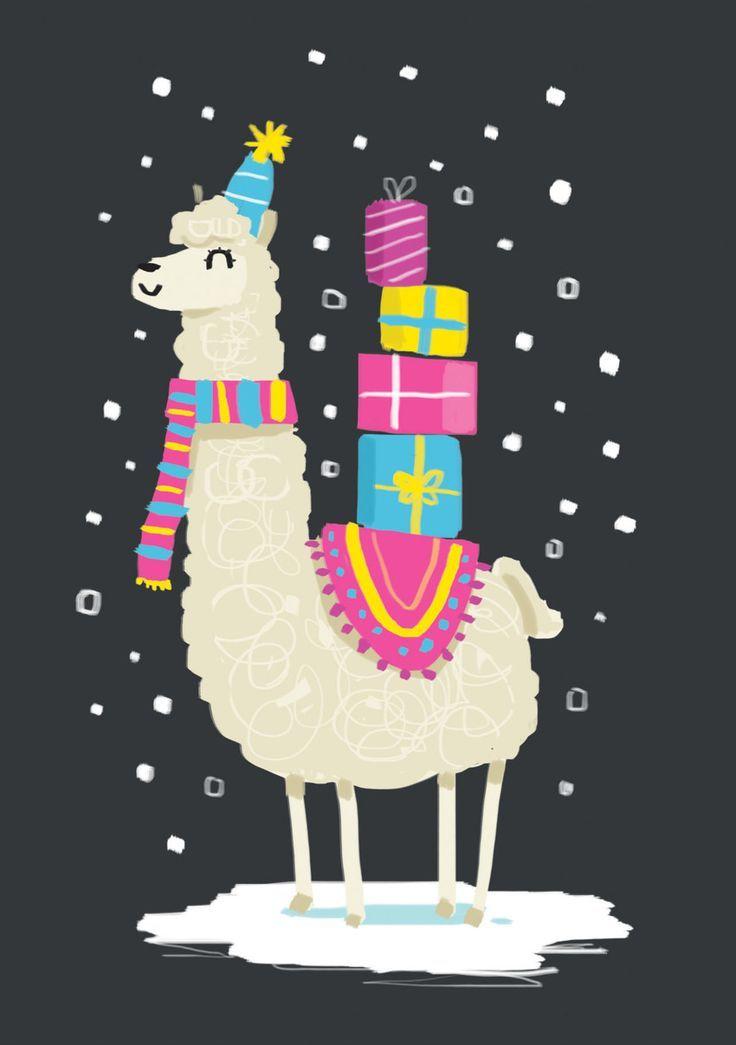 Christmas Llama Presents Jpg Christmas Illustration Llama Christmas Christmas Art