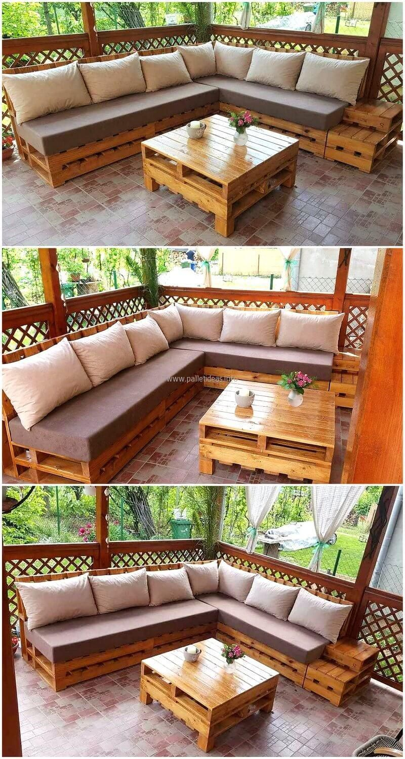 Repurposed Pallets Made Patio Corner Couch #PatioFurnitureLiving ...