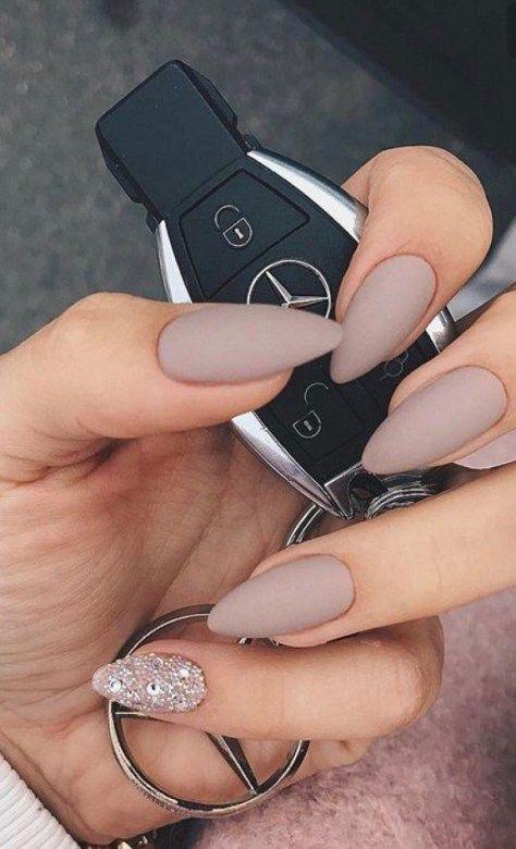 Neutral nail designs ideas,Pretty matte nail design,Matte Neutral and  Glitter Nail Design - Pretty Matte Nail Design Pinterest Prom Nails, Matte Nails And