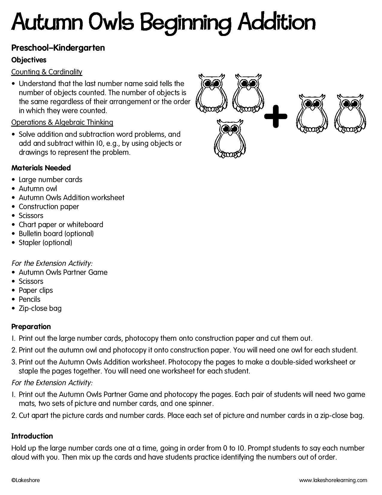 Autumn Owls Beginning Addition Lessonplan Math