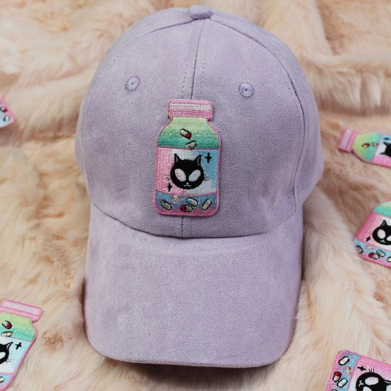 Embroidery patch chill pill Tumblr alien cat  baseball cap
