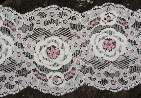 Vintage Lace - Vintage Trim - White and Pink - Lingerie Lace - Stern & Stern Textiles, NY - 18 Yards 3 1/2 This is a pink and white net lace made by Stern & Stern Textiles Inc. a New York company. It is still on the original sample card. It was likely made in the sixties. It is 3 1/2 wide. It will be packaged carefully and mailed out Canada Post.