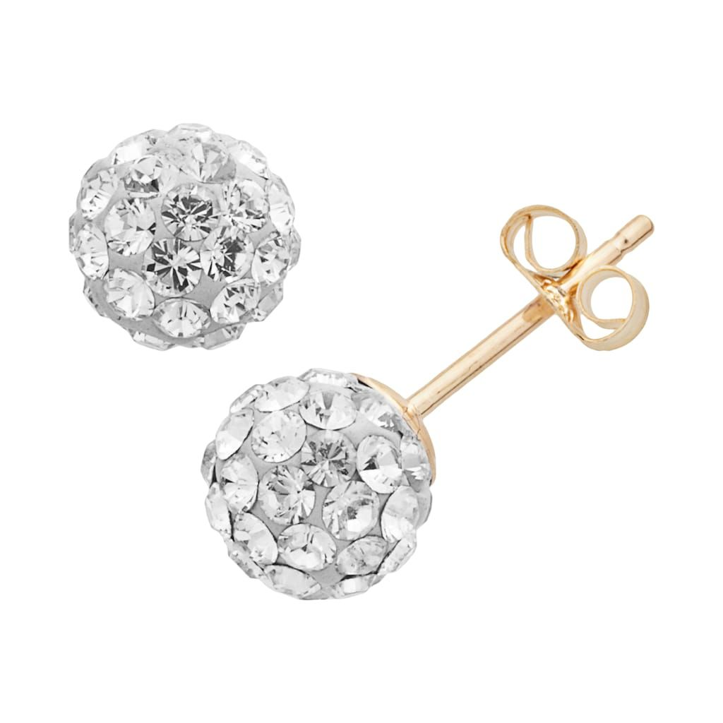 6bcfbbff7 10k Gold Crystal Ball Stud Earrings - Made with Swarovski Crystals,  Women's, White