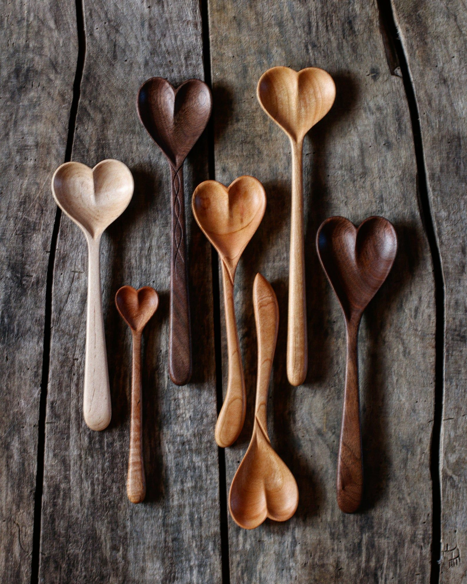 Wooden Heart Spoons Love Spoon Hand Carved Heart Spoon Handmade Cooking Serving Spoon Love Spoon Kitchen Utensil Dreamware Wood Spoon Carving Carved Spoons Love Spoons