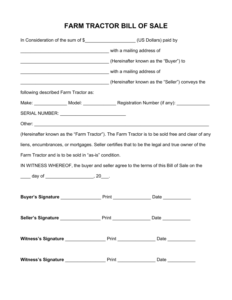 Free Farm Tractor Bill of Sale Form - PDF | Word | eForms – Free ...