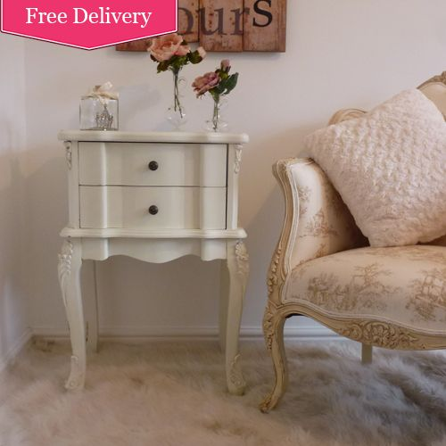 Cream French 2 Drawer Bedside Table, French Style Bedroom Furniture. Cream Bedroom  Ideas