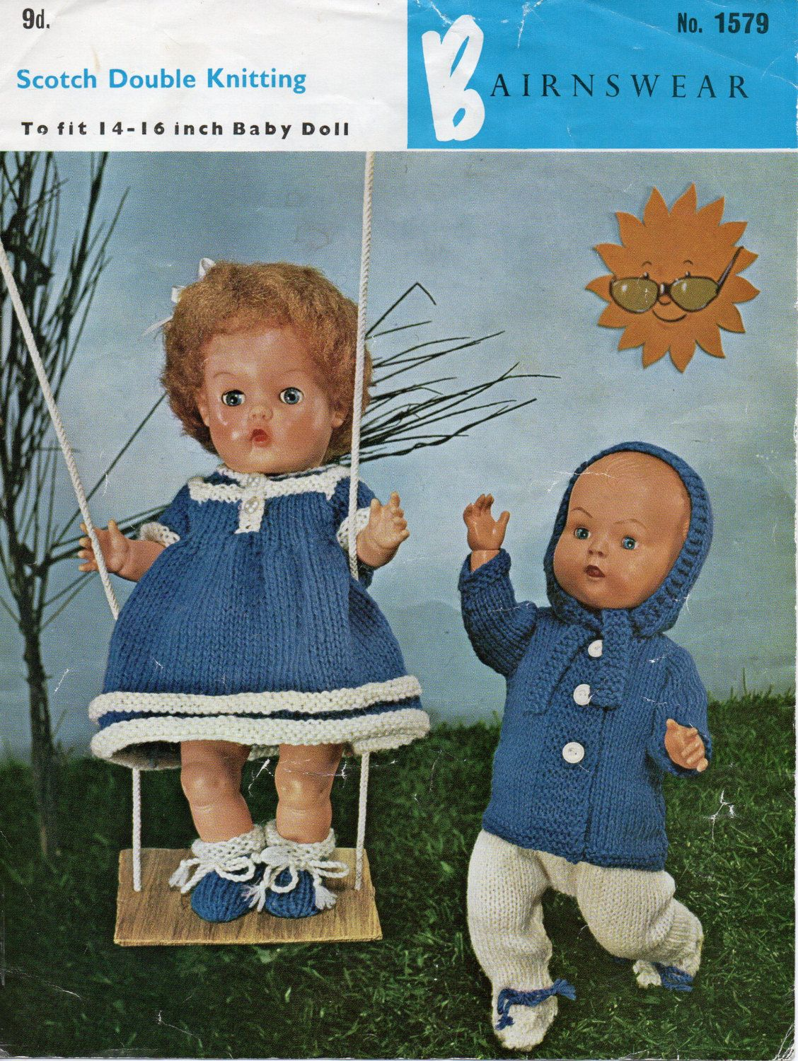 Baby Dolls Knitting Pattern, baby dolls clothes baby dolls outfits baby doll14-16 inch doll DK Dolls Clothes pattern PDF Instant Download by Minihobo on Etsy