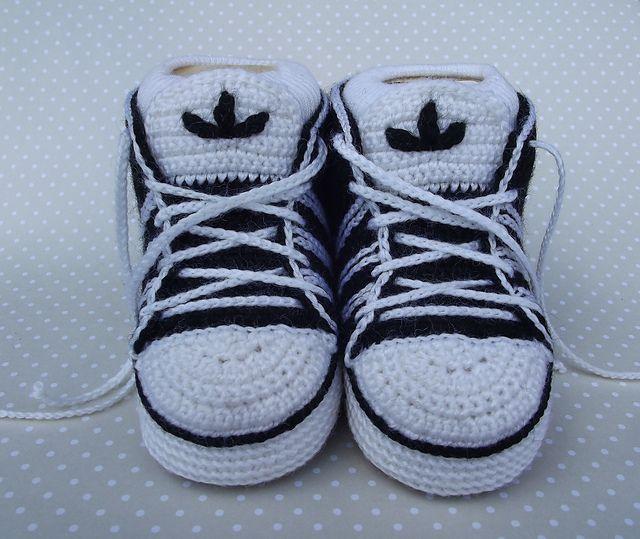 Crochet Adidas Baby Sneakers Tutorial Babies Pinterest