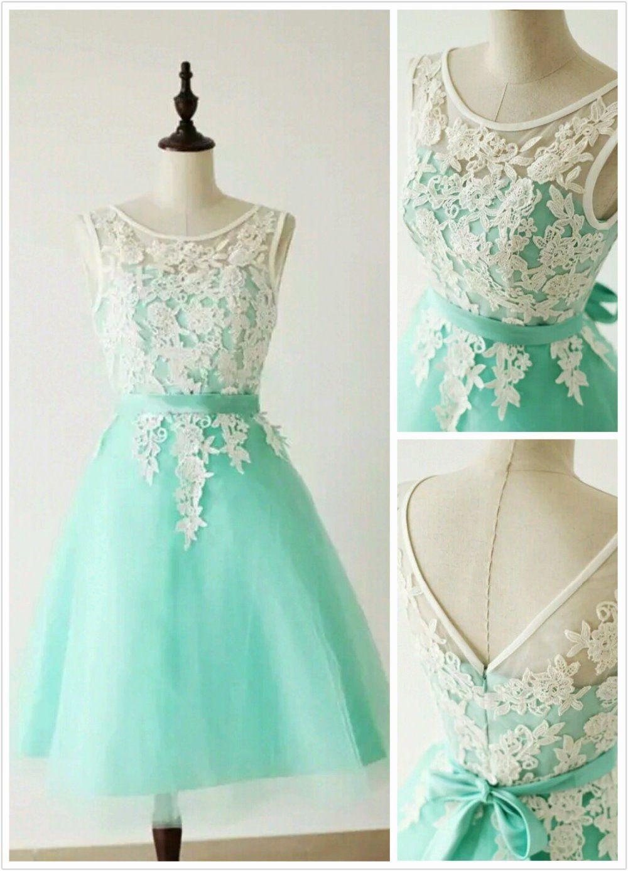 Aqua mint lace applique high quality short bridesmaid dress