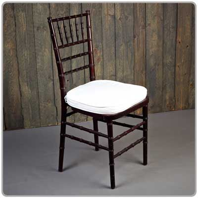 Mahogany Chiavari Chair -- Shown with a tie-on chair pad available in black, white and ivory - order separately. Micro suede or Topaz seat pad covers also available separately.