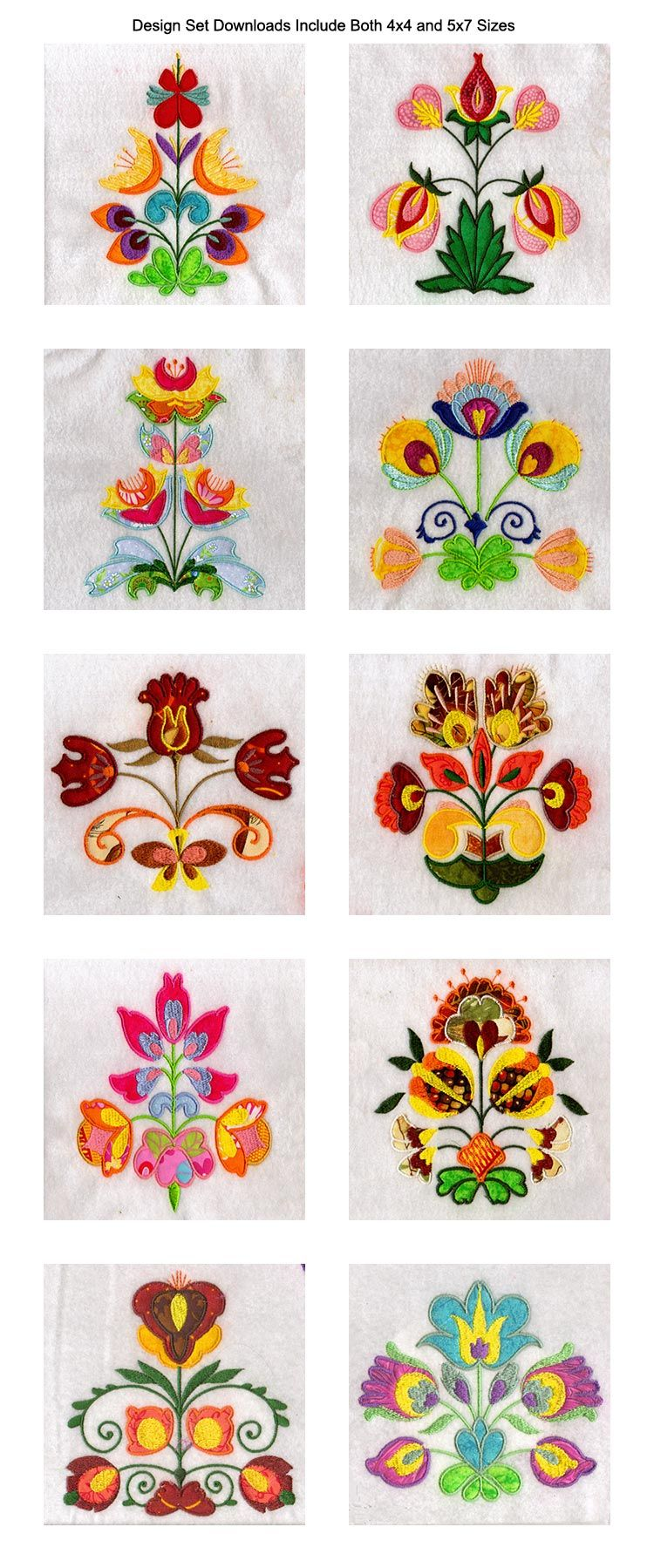 Applique folkart flowers embroidery machine design details 北欧