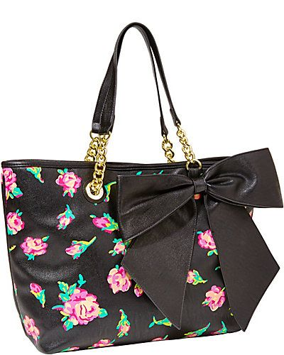 Leather Bright Pink Rose Bow Tote Bag