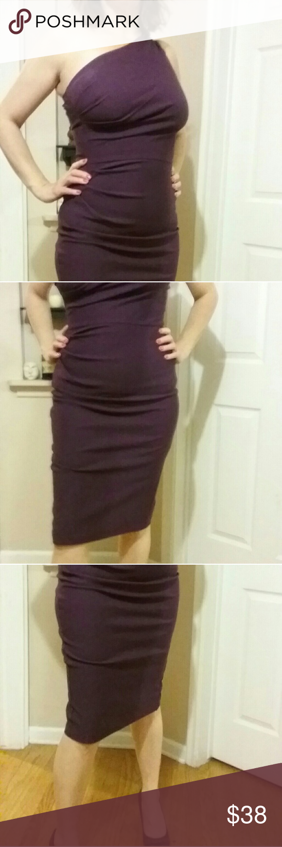 stop staring ruched dress in eggplant My favorite party dress. This runs small, Im normally a 12 and this 14 is REAL snug. The shape is so flattering and I have felt like a million bucks every time Ive worn it. Stop Staring Dresses Midi