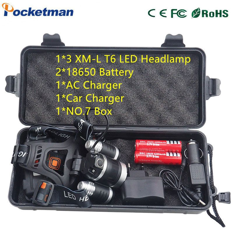 Powerful Headlamp 3x Xm L T6 Led Headlight 10000 Lumen Head Lamp Flashlight Lampe Frontale Lanterna 90 Degree Night Self D Portable Light Headlamp Led Headlamp