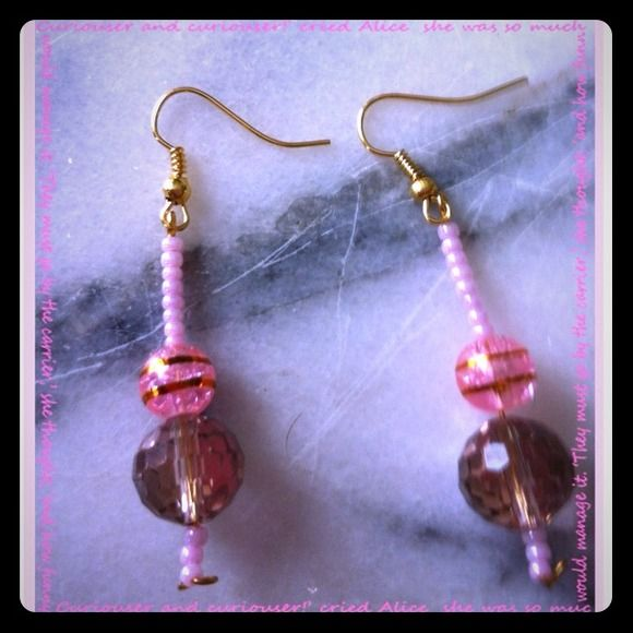 Disco Prism/Pink earrings~ Pink beads Jewelry Earrings
