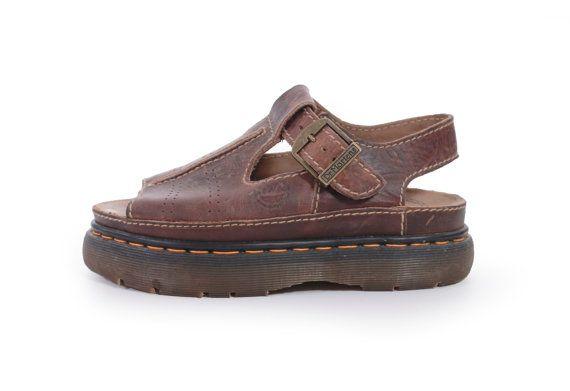 495eac19f1d16 90s Vintage Dr Martens Sandals England Brown Leather Chunky Platform ...