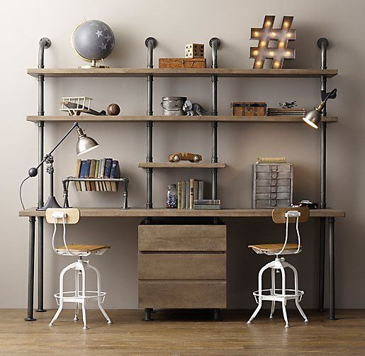 Industrial pipe double desk shelving with drawers for Plumbing pipe desk plans