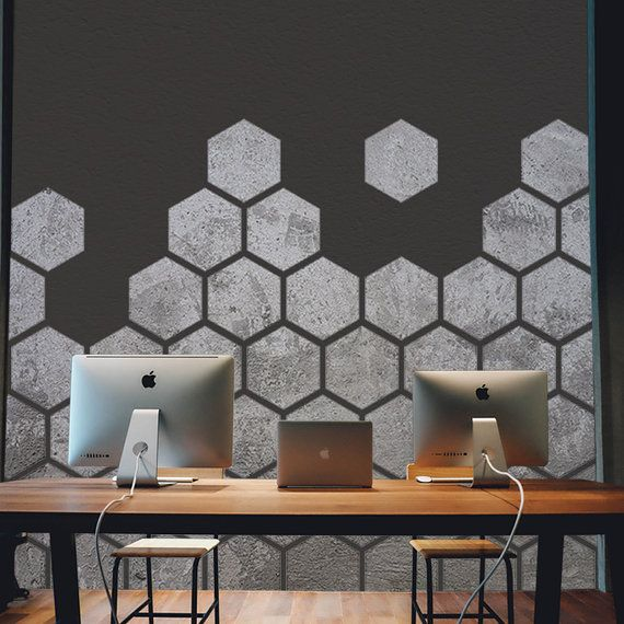 Concrete Honeycomb Wall Decal Office Interiors Removable Wall Sticker Geometric Wallpaper Office Wall Decals Removable Wall Stickers Wall Decals