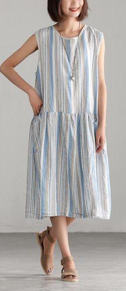 2dba07efb8 Beautiful linen cotton Robes stylish Loose Stripe Summer Sleeveless Dress  cottonlinendress oneckdress