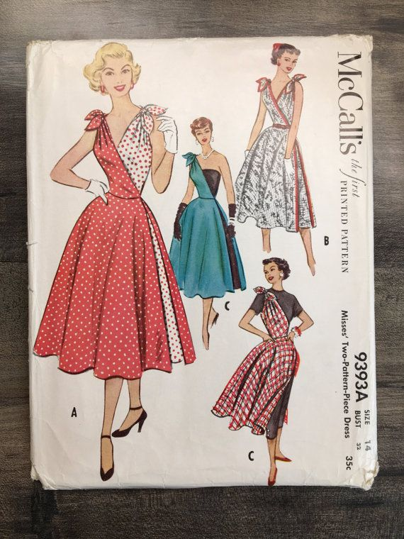 50\'s Size 14, Bust 32; McCall\'s 9393A; McCall\'s 9393; 1950\'s Misses ...