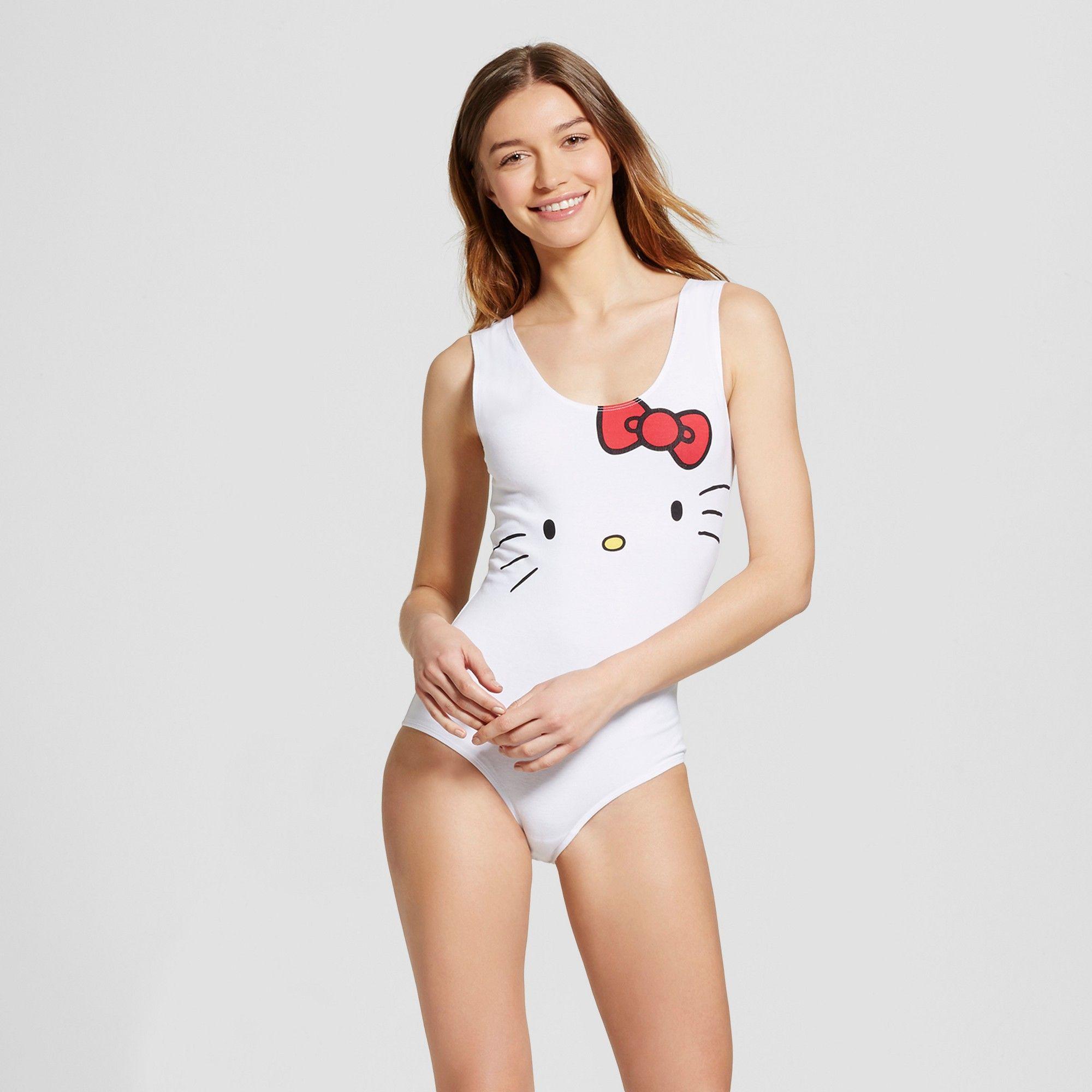 03fd552473 Women s Hello Kitty Sleep Bodysuit Pajama - White S