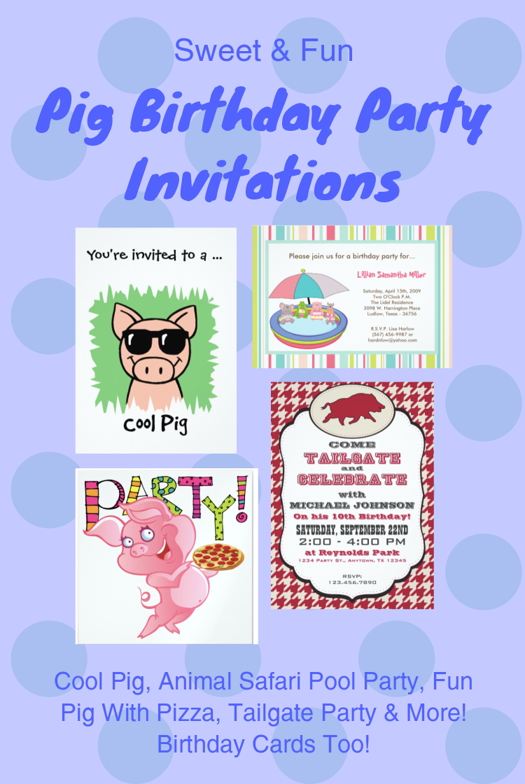 Sweet Fun Pig Birthday Cards Party Invitations Cat Pet