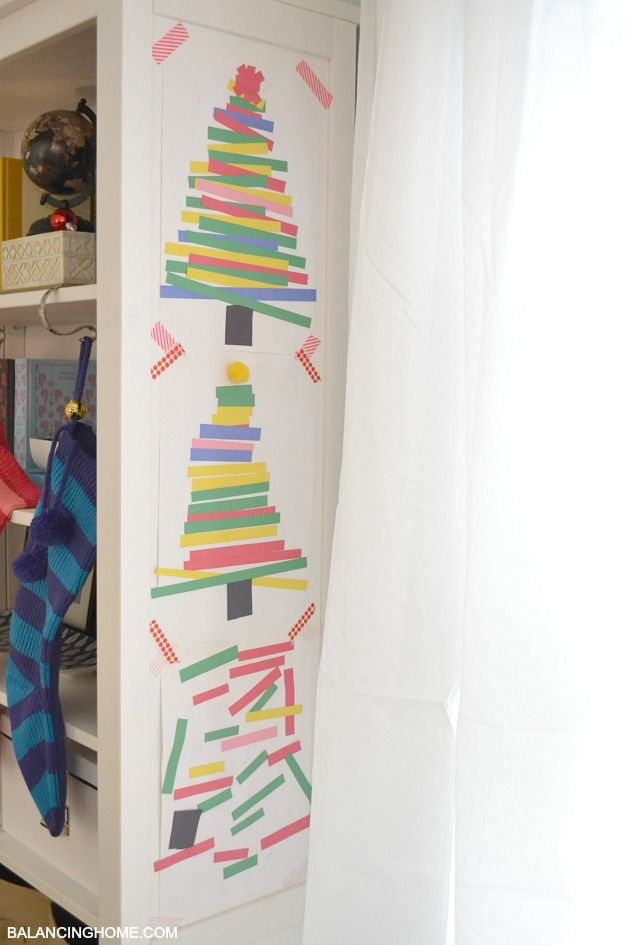 Kid Art Project Paper Strip Christmas Tree Paper strips
