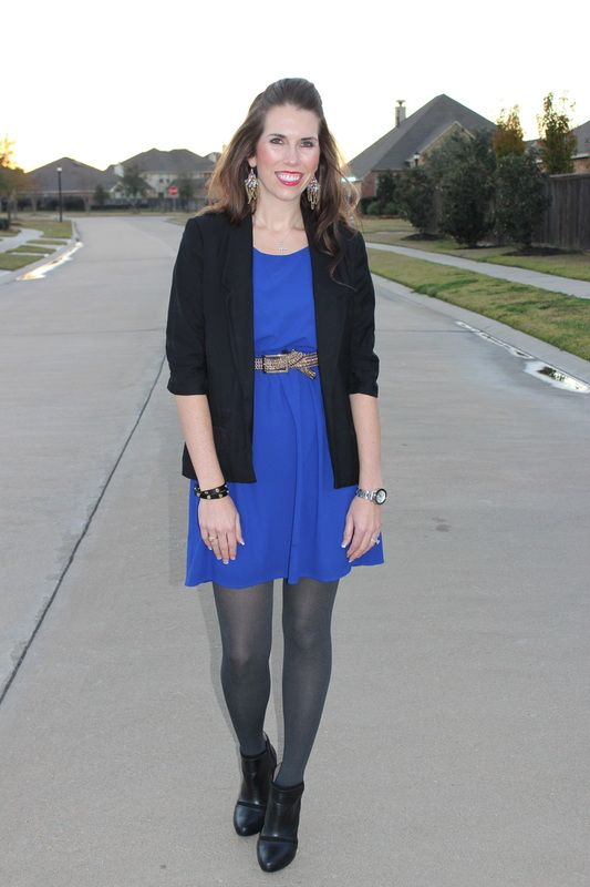 719c0286ae372 Royal Blue Dress Grey Tights Black Blazer | Jo & Jess Fashion Blog ...