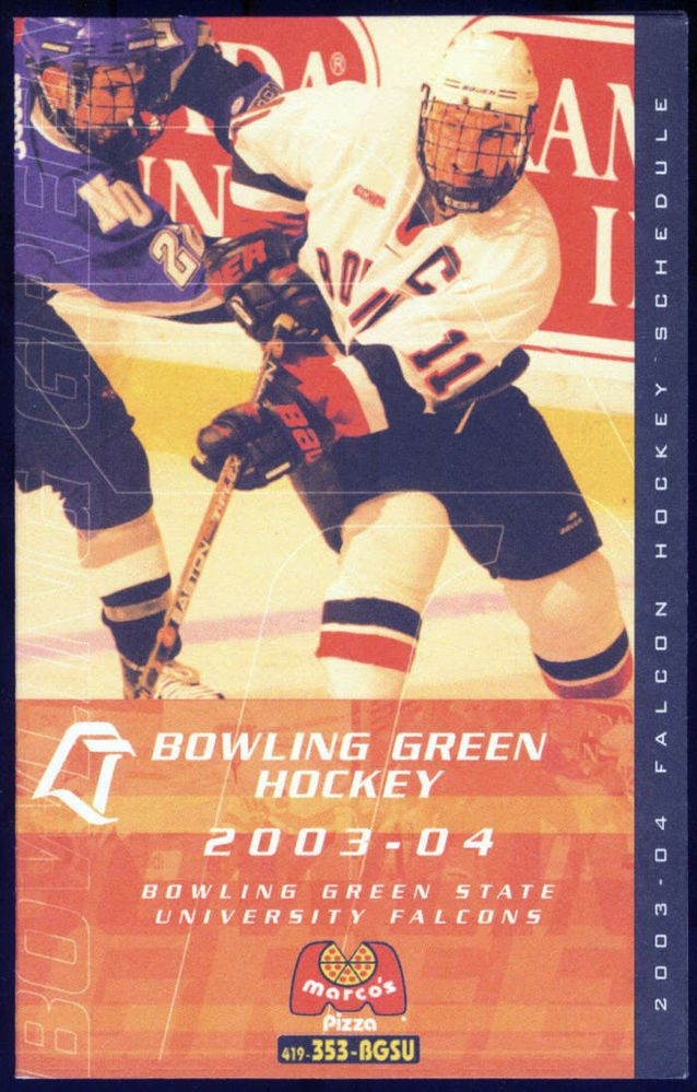 2003-04 BOWLING GREEN FALCONS MARCO'S PIZZA HOCKEY POCKET SCHEDULE FREE SHIPPING #Schedule