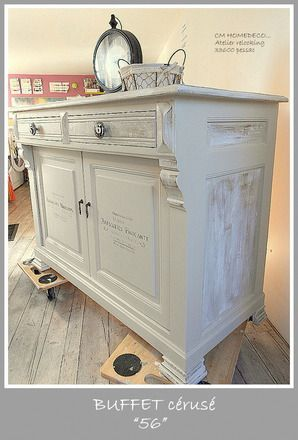 Meuble relook grand buffet 1900 restaur tradition campagne chic ch ne massif patin et c rus - Meuble relooke patine ...
