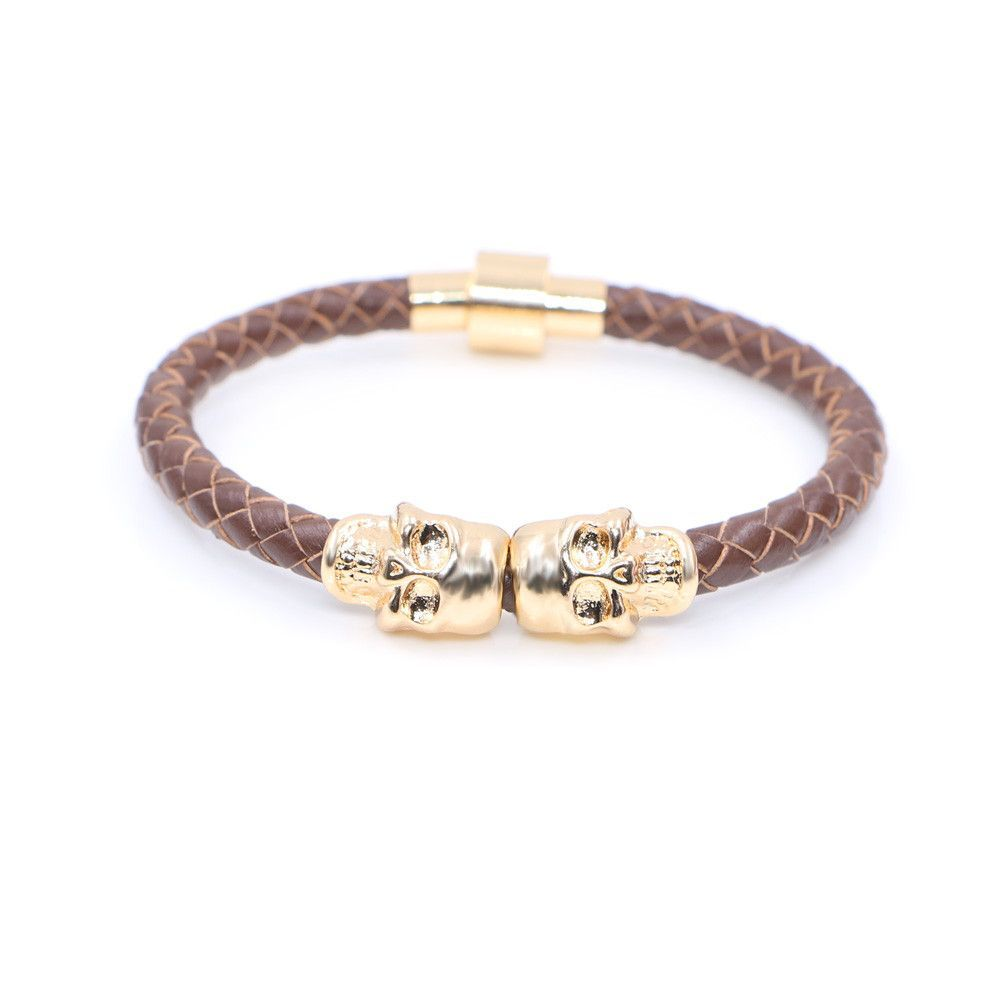 Genuine leather twin skull bracelets skull bracelet bracelets and