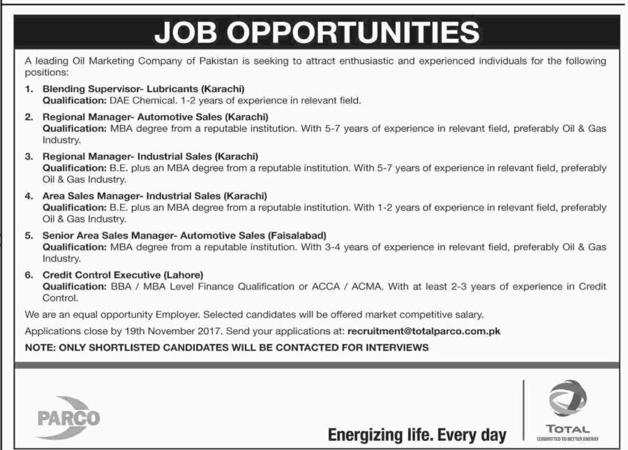 PARCO Oil Marketing Company Jobs 2017 For Managers And Credit - sales marketing executive job description